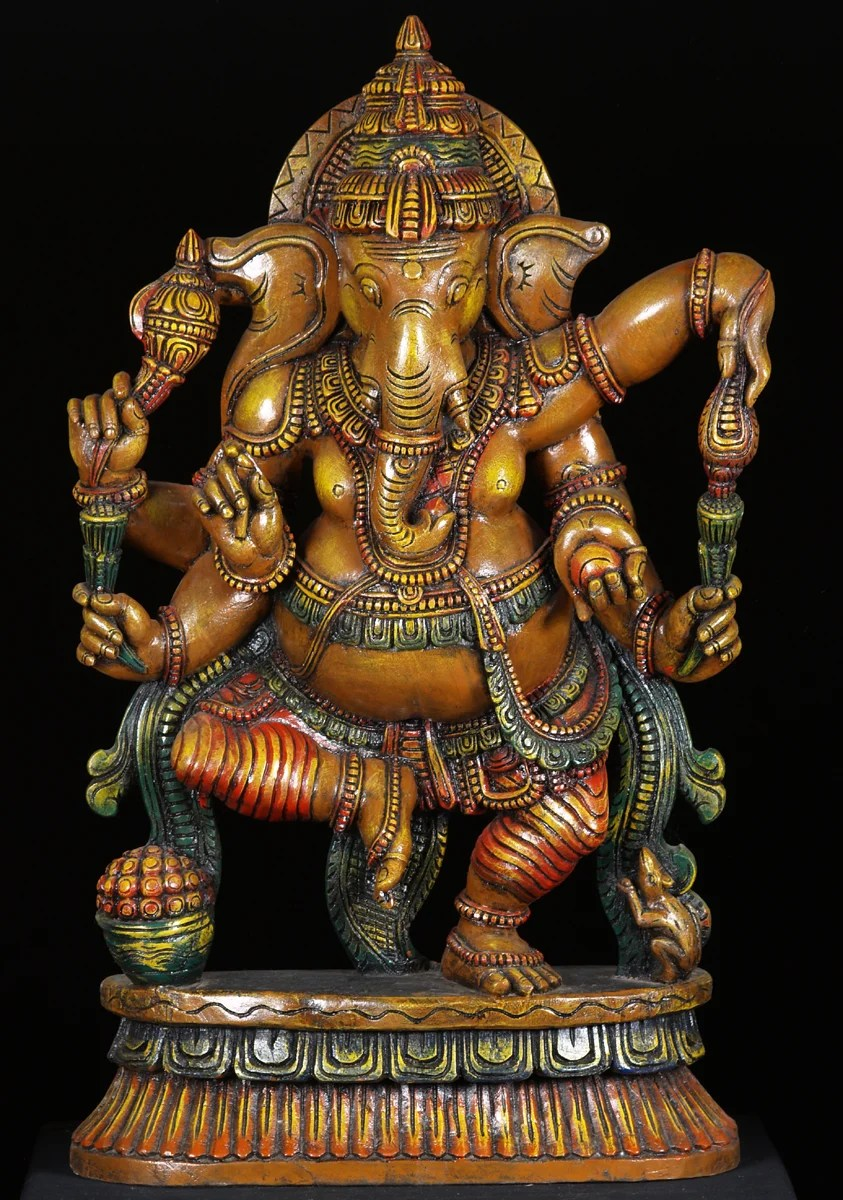 "300/20 Sold Dancing Ganesh Statue With 6 Arms & Rat 36"" (#52w1ao"