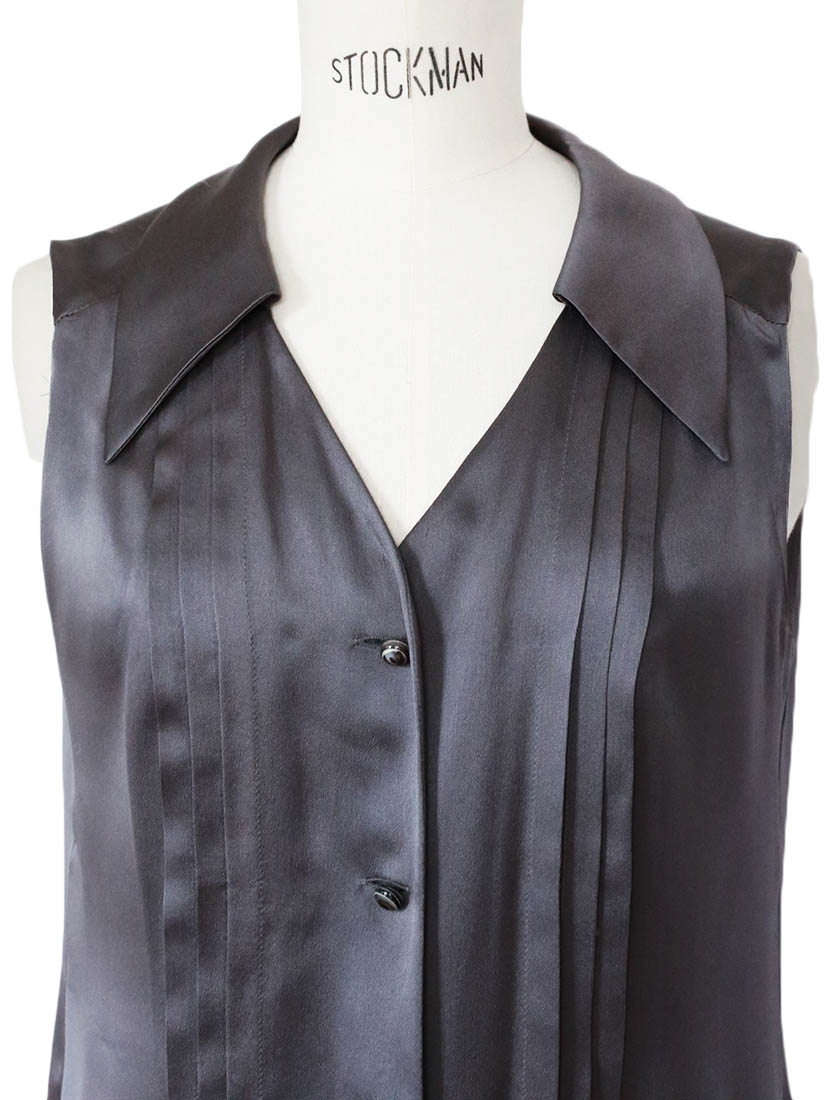 Satin Couture Louise Paris - Balenciaga Dark Grey Silk Satin Sleeveless