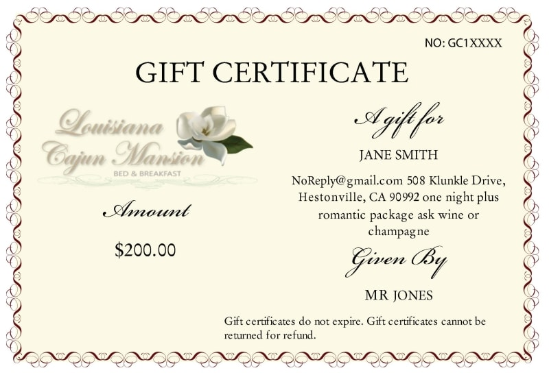 Gift Certificate Louisiana Cajun Mansion Bed and Breakfast
