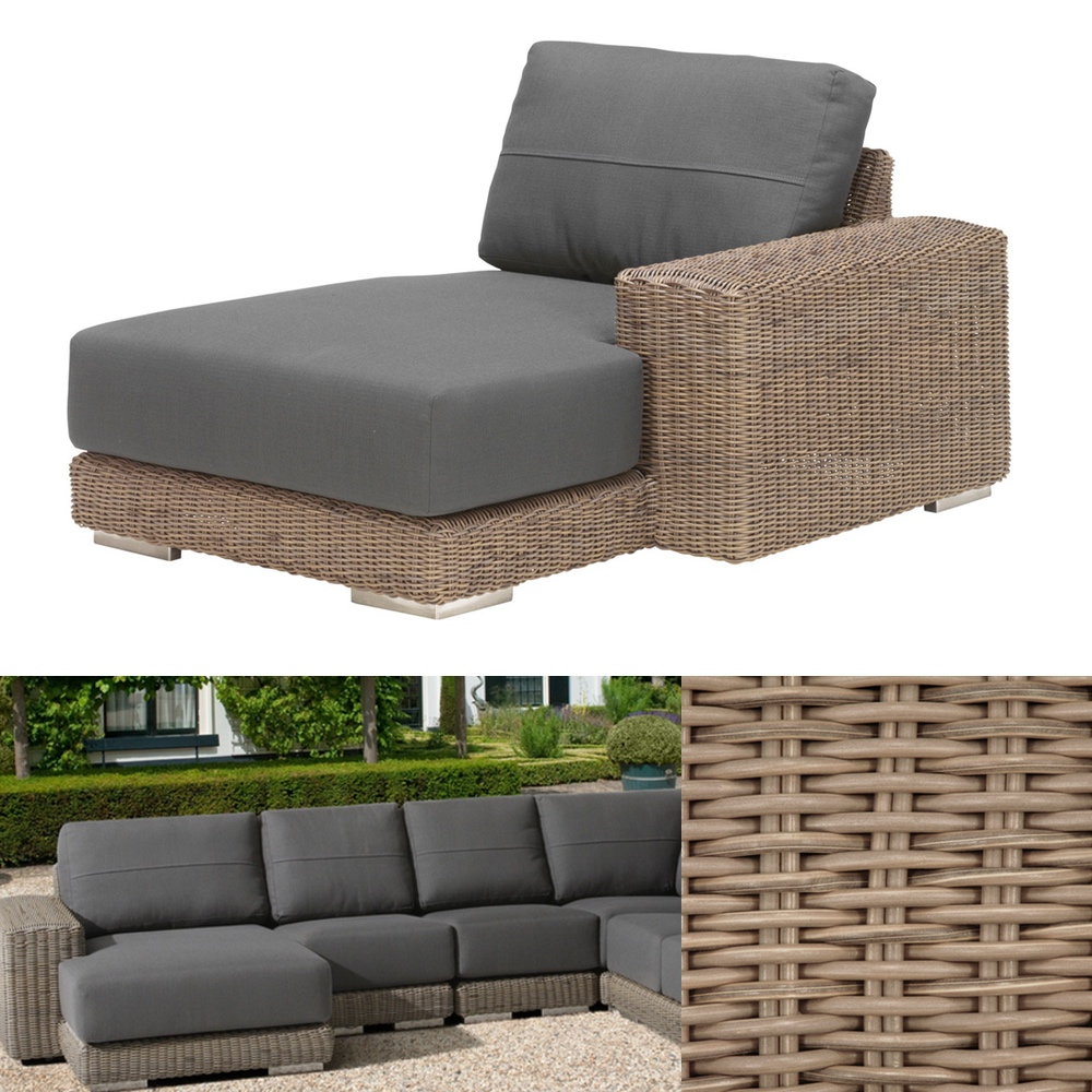 Loungemöbel Rattan Gartenliege 4seasons Kingston Pure Recamiere Armlehne Links Korbliege Loungemöbel Rattan Shop