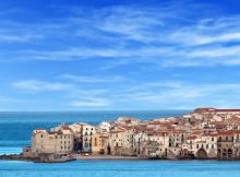 Houses along the shoreline in Cefalù, Sicily