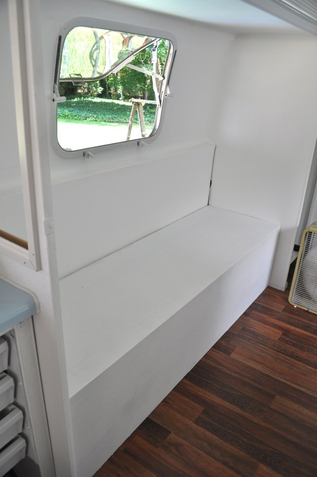 bench in airstream trailer