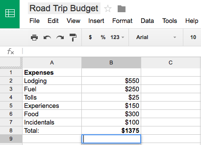 This isn't my actual budget, but it's a good start!