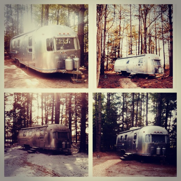 An Airstream throughout 4 seasons