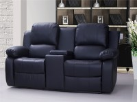 Valencia 2 Seater Leather Recliner Sofa With Drinks ...