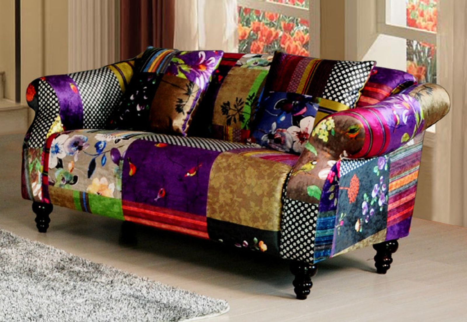 Patchwork Sofa Anna Shout 2 Seater Luxury Fabric Patchwork Sofa Ebay