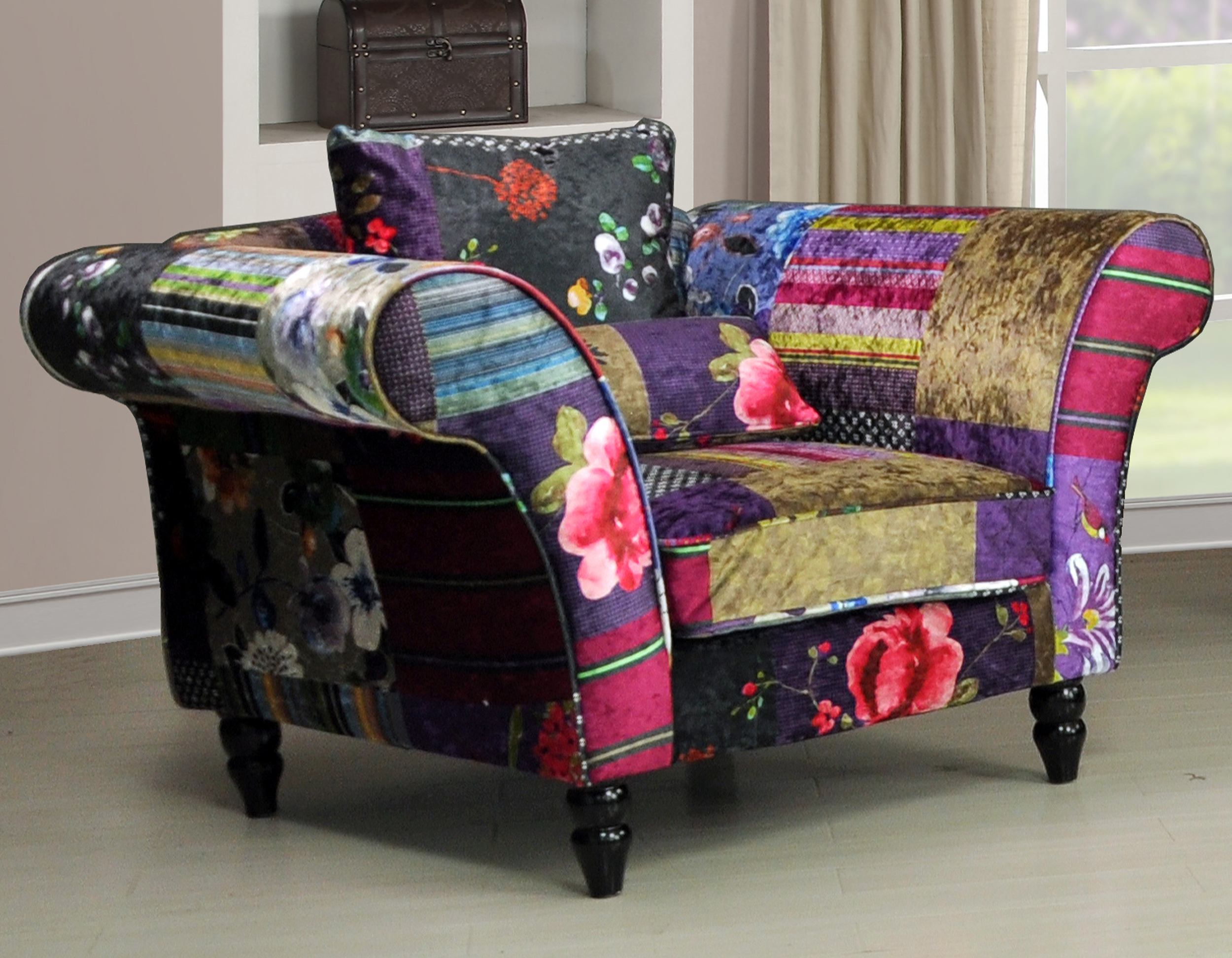 Patchwork Sofa New Anna Wave 1 Seater Luxury Fabric Patchwork Sofa Ebay