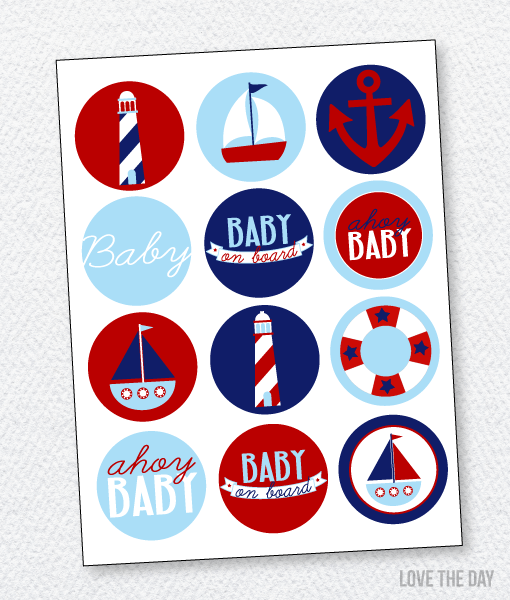 Preppy Nautical Baby Shower Printables:: Party Circles