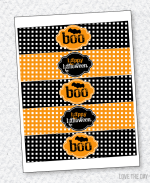 Black & Orange Halloween Party PRINTABLES:: Drink Labels