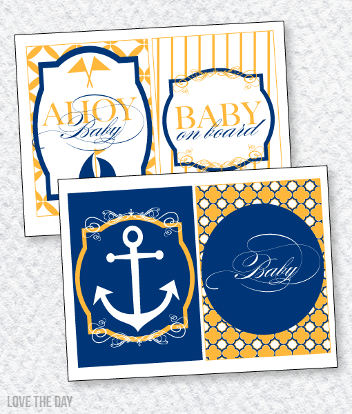 Nautical Baby Shower PRINTABLES:: 5X7 Party Signs