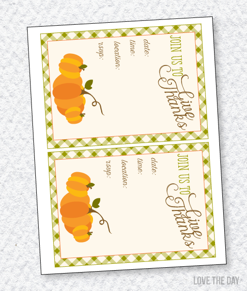 Thankful For You Party PRINTABLE:: Blank Invitations
