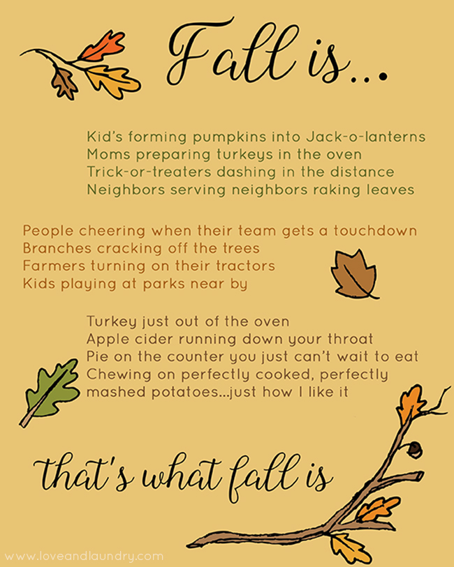 Fall Is Free Printable Poem