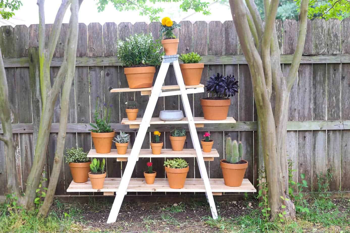 Build Plant Stand Diy Tiered Plant Stand From An Old Ladder Love And Renovations