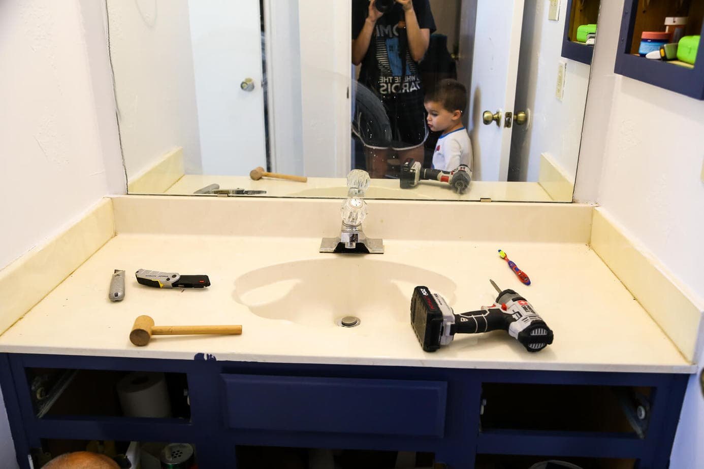 Replace Formica Countertop How To Replace A Bathroom Countertop Love And Renovations