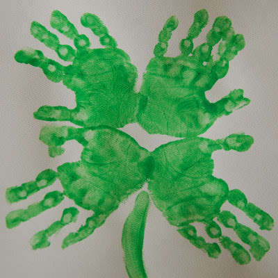 St. Patrick's Day: Four Leaf Clover Hand Print Art