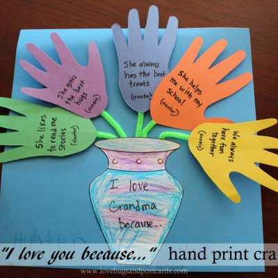 "Mother's Day ""I love you because…"" Hand print Craft"