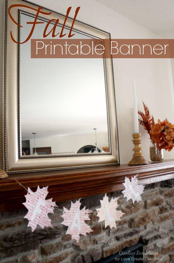 Printable Word Art Fall Banner - Love Create Celebrate