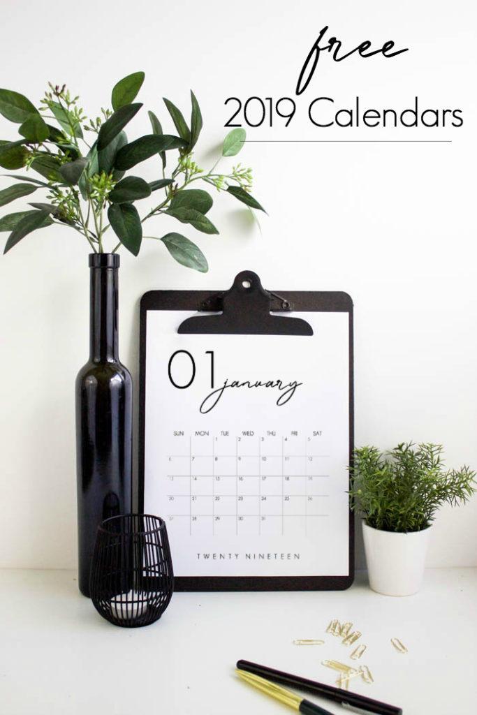 FREE 2019 Calendar Printable - Love Create Celebrate
