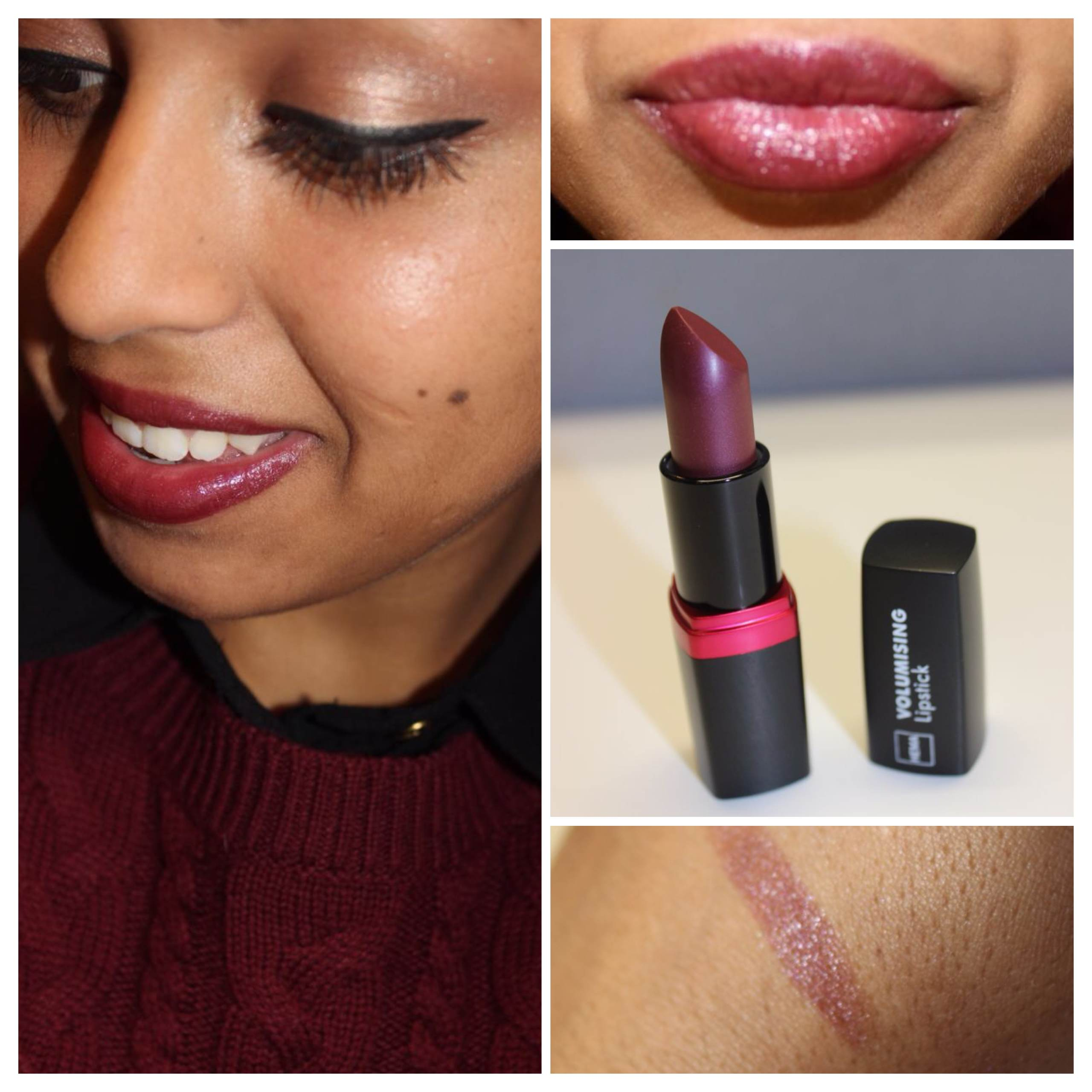 Bordeaux Lippenstift Matt Review: Hema 'volumising Lipstick 08'
