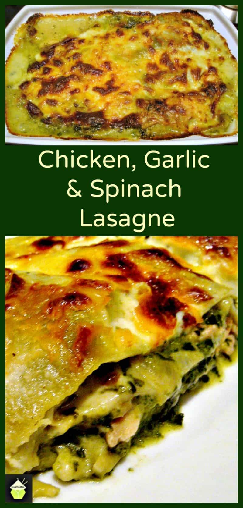 Chicken garlic and spinach lasagna lovefoodies for Spinach chicken lasagna recipe