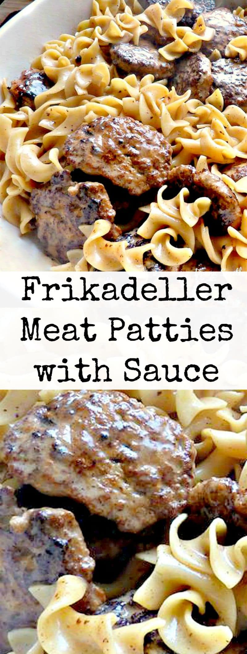Frikadeller Meat Patties with Sauce. Made with ground meat and a lovely sauce. Delicious served with pasta!