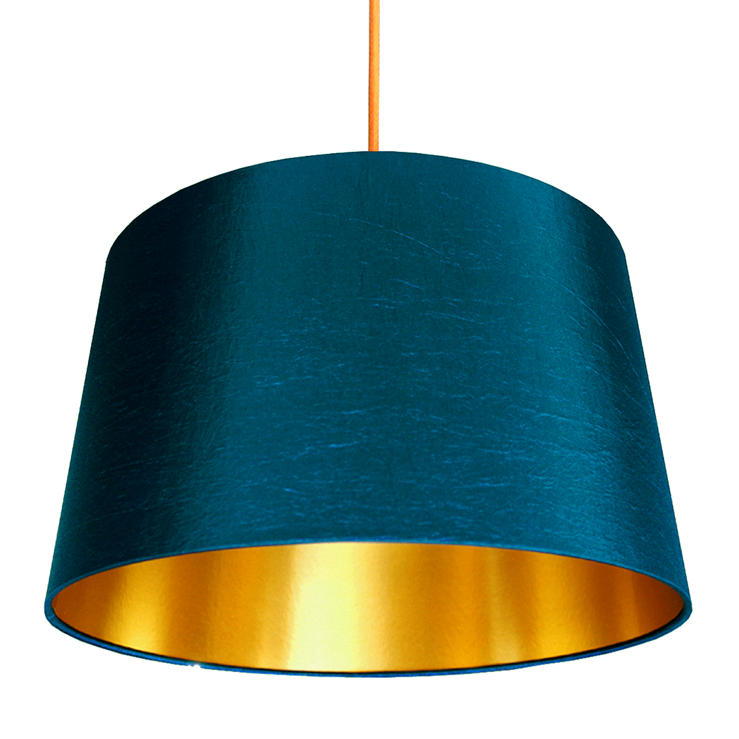 Lampenschirm Gross French Drum Lampshade In Petrol With Gold Lining | Love