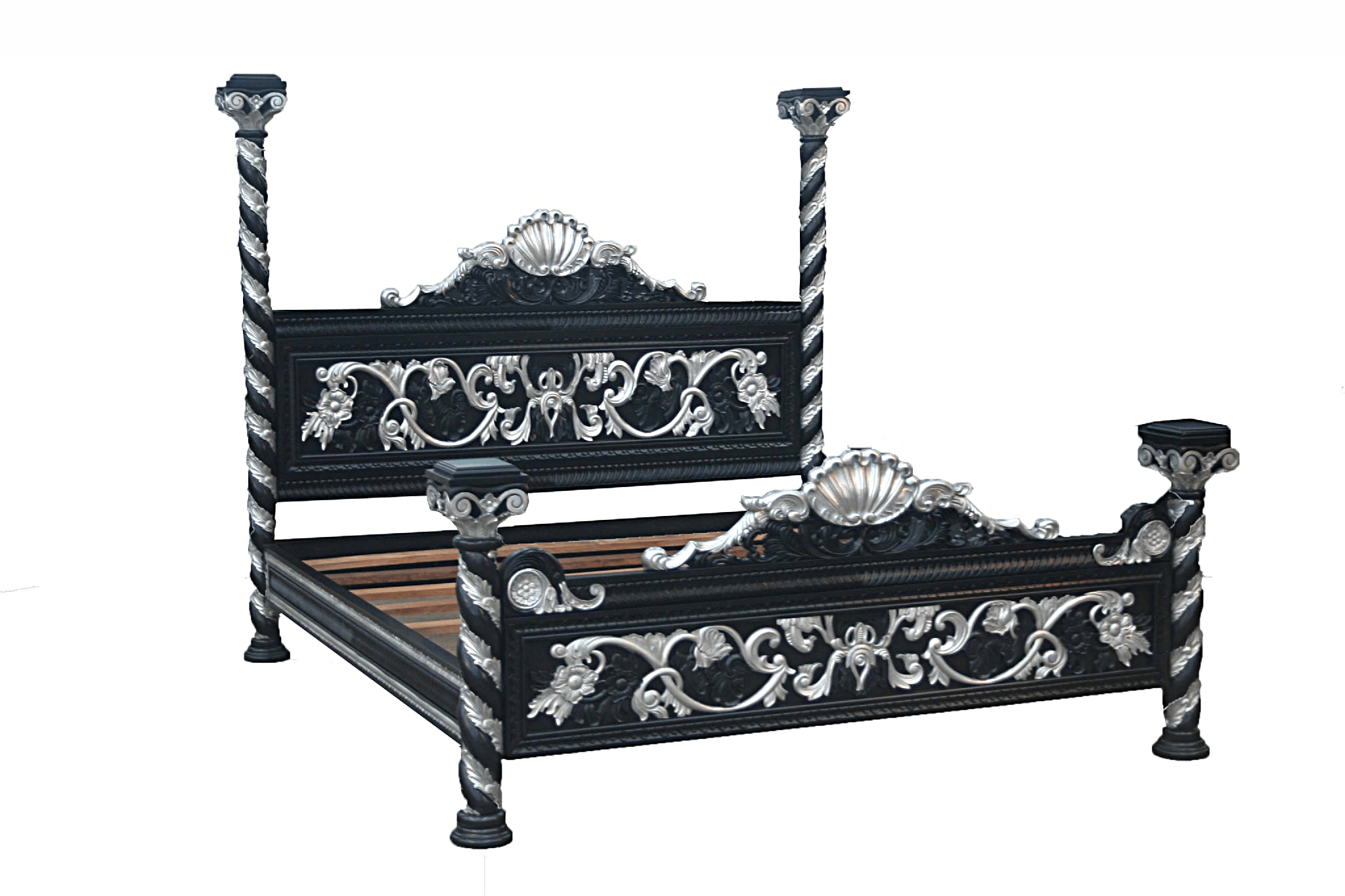 Black Four Post Bed Ornate Four Poster Bed In Black And Silver