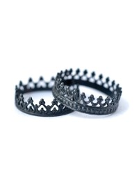 King and Queen Crown Rings - Oxidized Silver Stackable ...