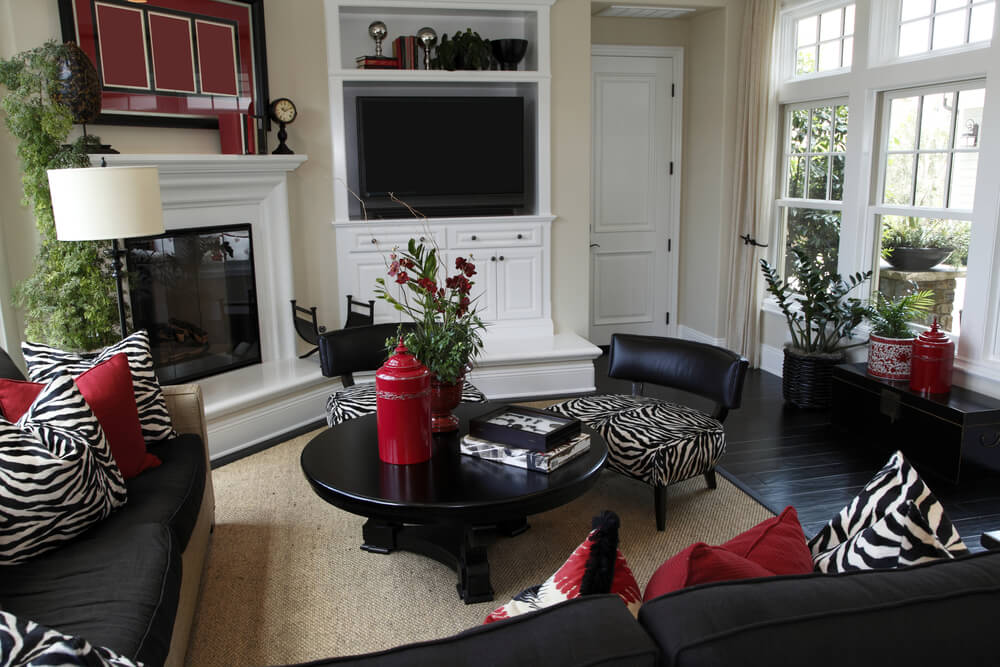 Interior Design Ideas (Living Rooms and Family Rooms) - black and red living room ideas