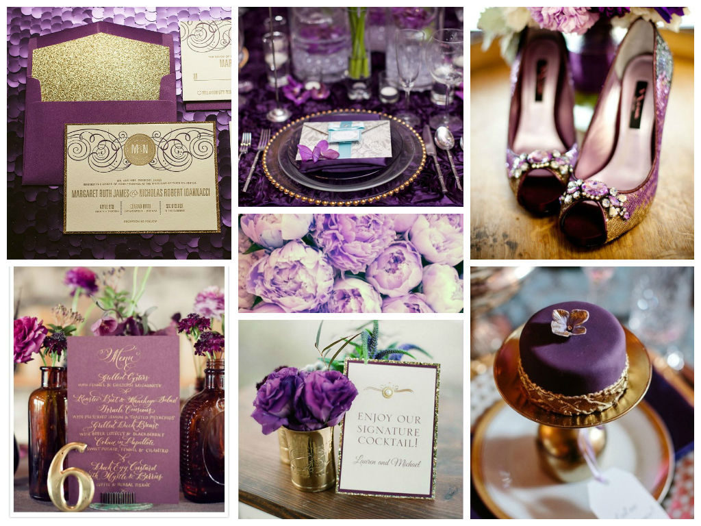 Scenic G Wedding Table Color Palette Purple G Indulge Purple G Wedding Reception Purple wedding Purple And Gold Wedding