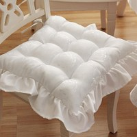White Tufted Seat Cushion - Accent Pillows - Bedding