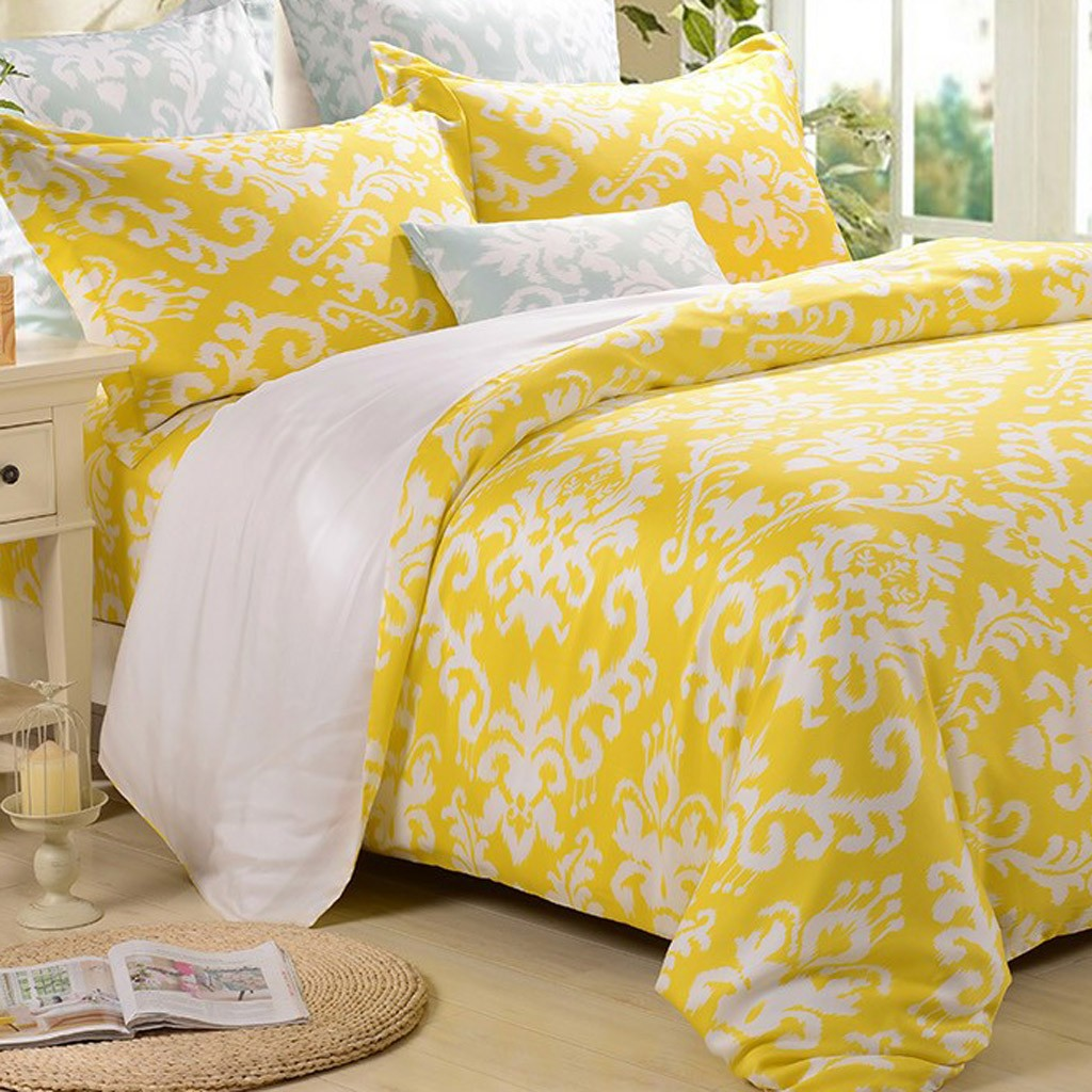 Damask Duvet Damask Duvet Cover Set Yellow