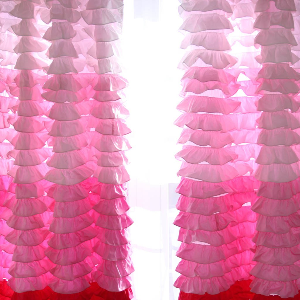 Ruffle Curtain Panel Pink Ombre Ruffle Waterfall Curtain Panel