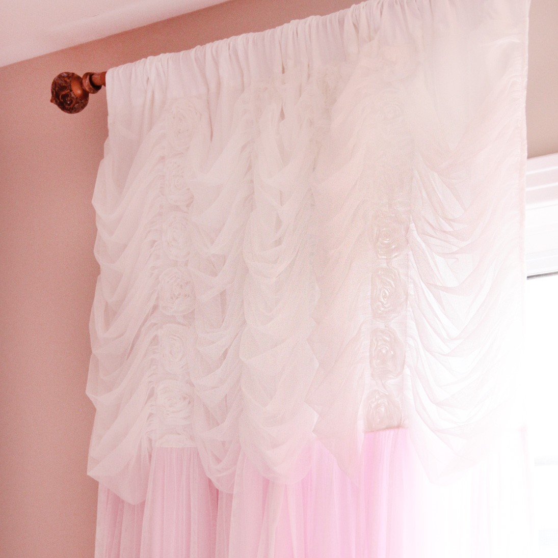 Ruffle Curtain Panel Pink Ruching Ruffle Curtain Panel
