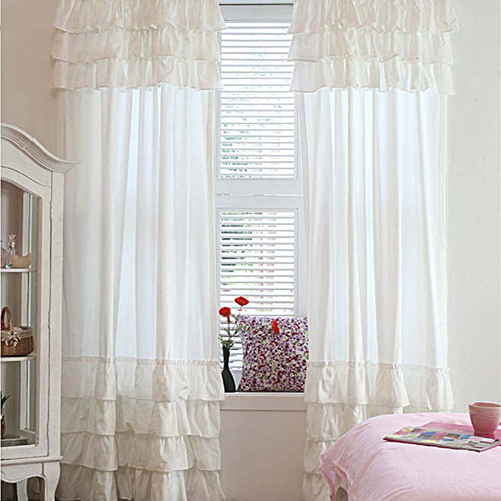 Ruffle Curtain Panel Custom Make Ruffle Curtain Panel Pure White