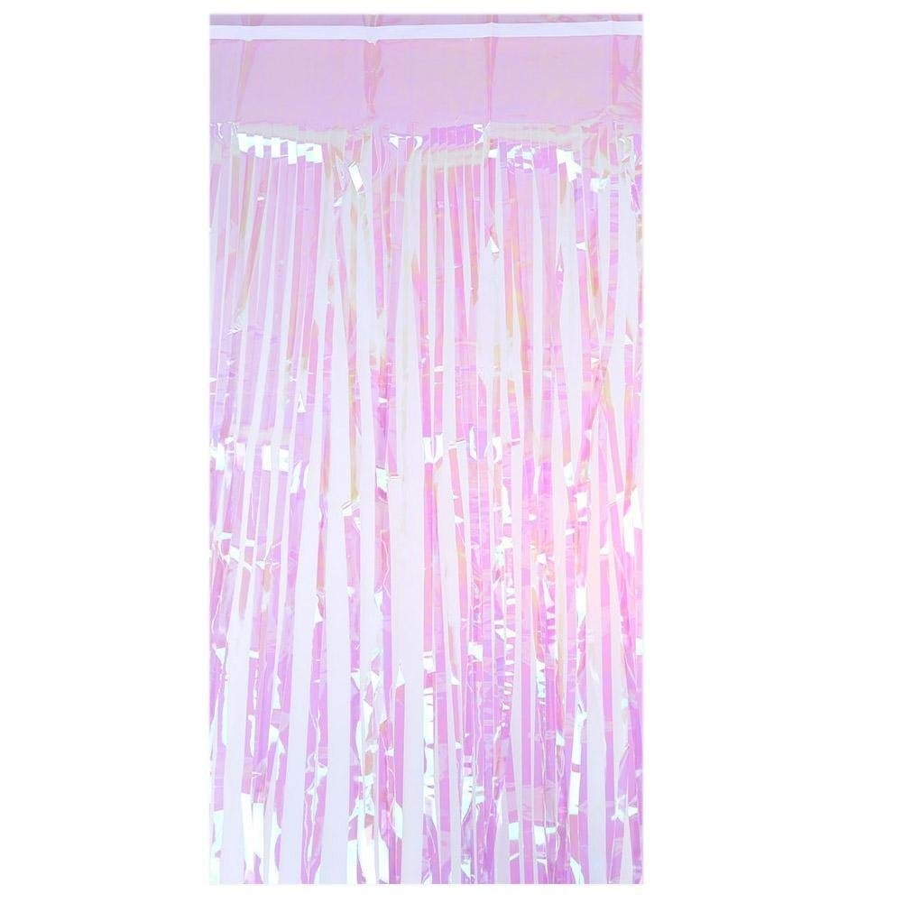 Pink Sequin Curtains Iridescent Fringe Foil Mermaid Tassel Curtain Party Hanging Decoration
