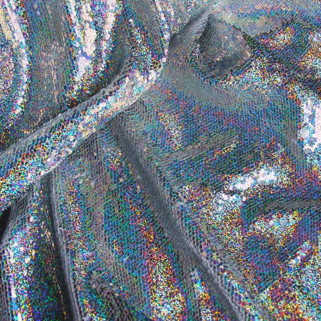 Curtain Fabric Silver Holographic Iridescent Fabric