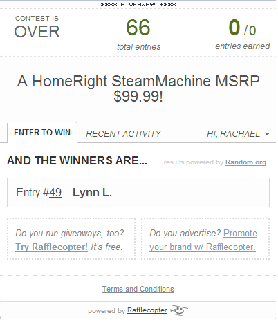 rafflecopter steammachine