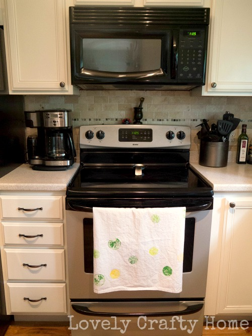 fruit stamped tea towel