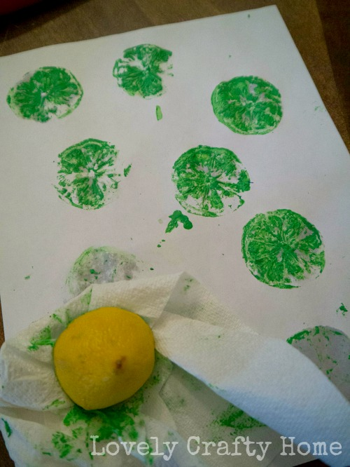 testing fruit stamp on paper