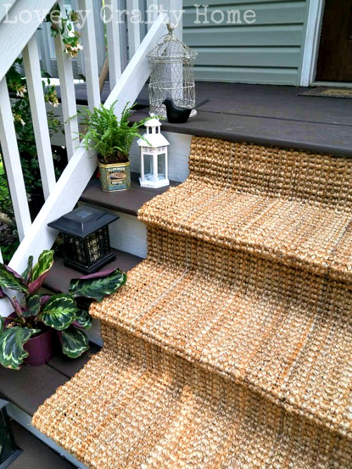DIY porch stair jute runner