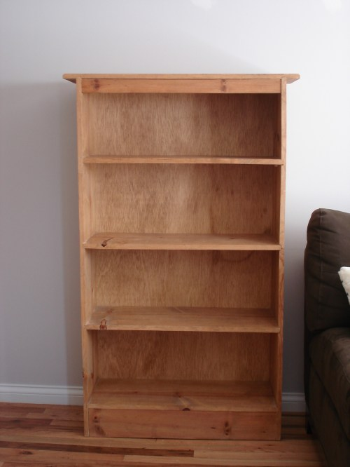 empty bookshelf for stain