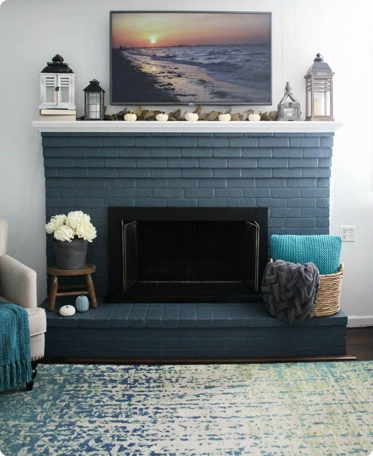 Blue Fireplace Modern Farmhouse Mantel: High Style On A Low Budget