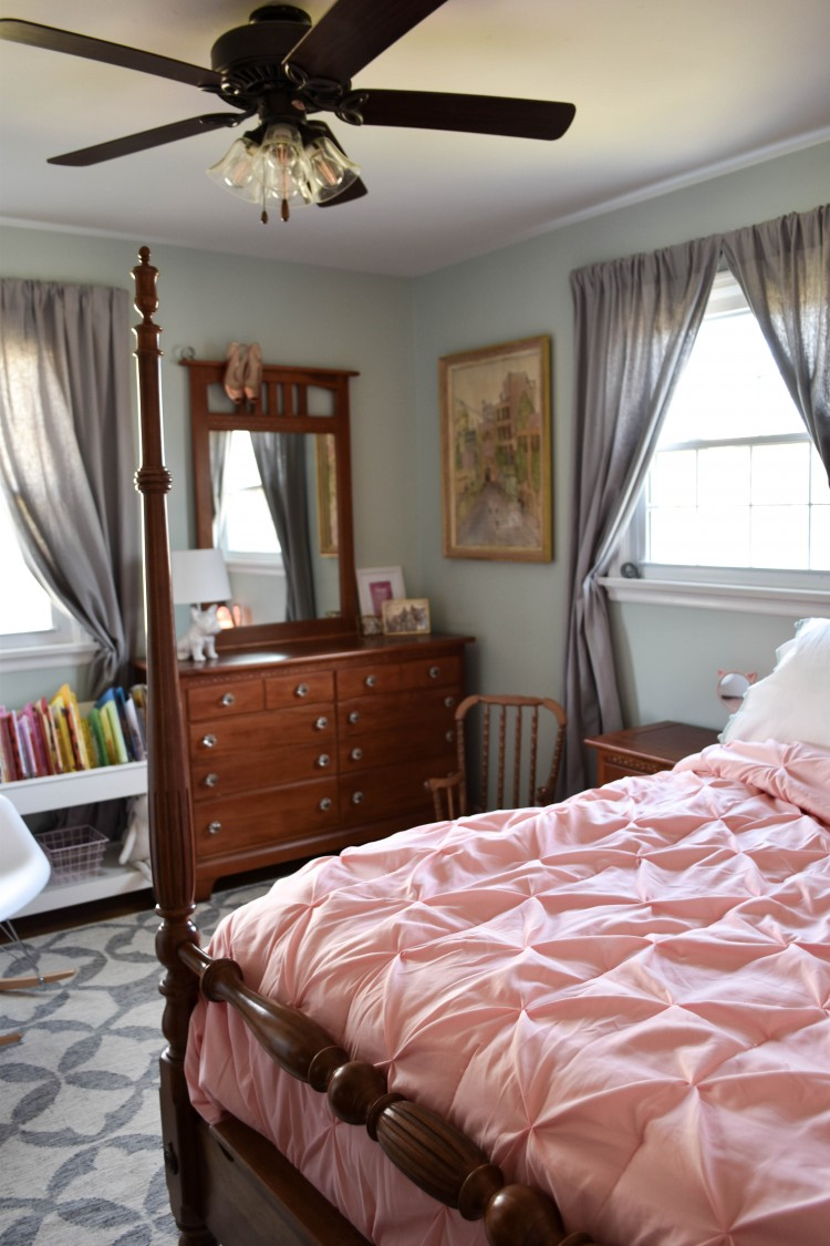 Ceiling Fan Girls Room Quinn S Room Reveal A Blue Floral Bedroom For Girls Lovely