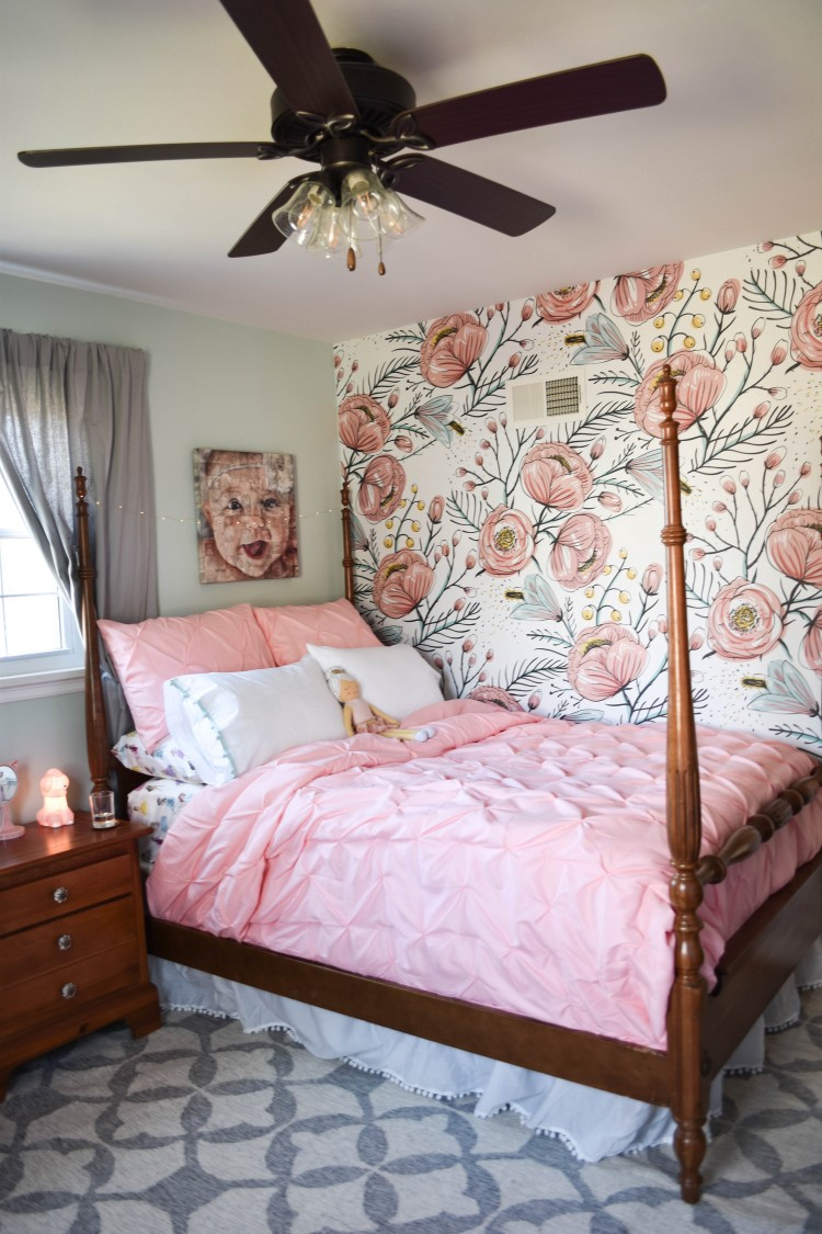 Quinn S Room Reveal A Blue Floral Bedroom For Girls Lovely Lucky Life