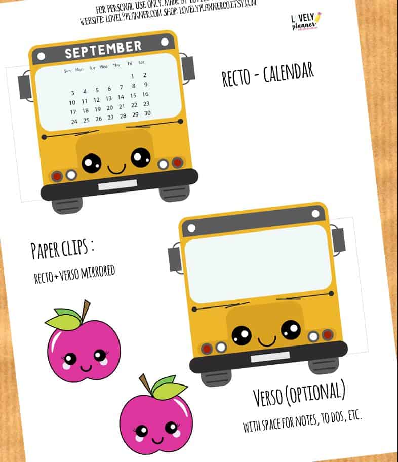 School Bus Calendar Divider + Paperclip for your planner - Lovely