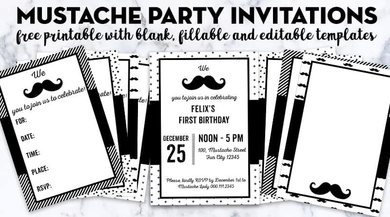 Free Printable Mustache Party Invitations - Blank  Editable