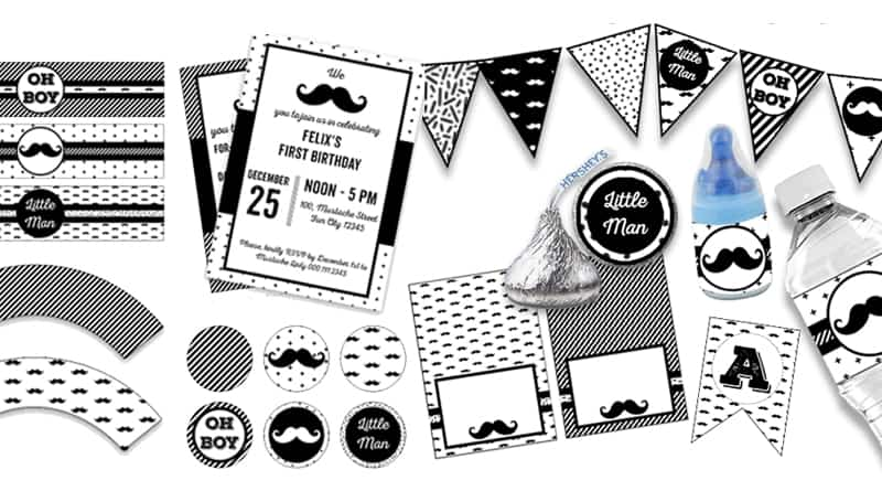 10 FREE printables for your Mustache Party - Lovely Planner