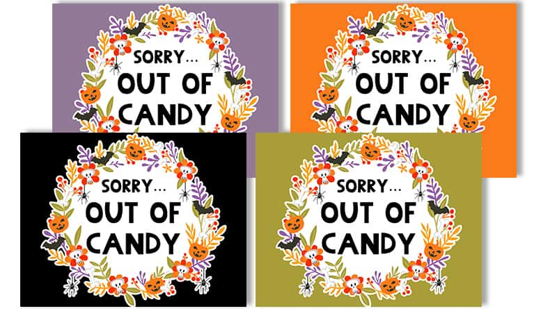 Free Printable Halloween Out of Candy Signs - Lovely Planner