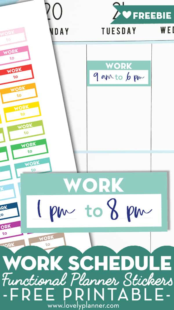 Free Printable Work Schedule Planner Stickers - Rainbow - Lovely Planner